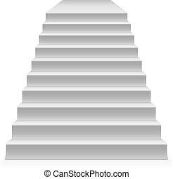 isolé, arrière-plan., vecteur, étapes, gabarit, blanc, piédestal