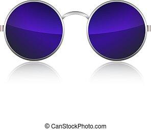 isolé, arrière-plan., vecteur, blanc, arrondissez lunettes
