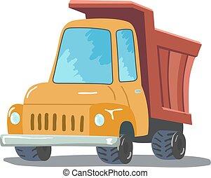 isolé, arrière-plan., vecteur, camion, blanc, dessin animé