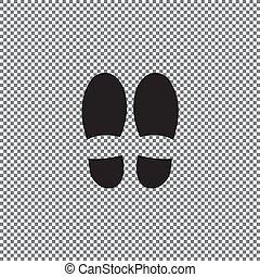 isolé, arrière-plan., vecteur, chaussure, empreinte, blanc, icône, print.