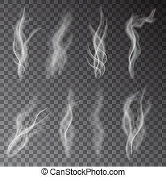 isolé, arrière-plan., vecteur, fumée, blanc, transparent