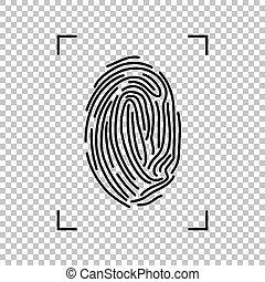 isolé, arrière-plan., vecteur, noir, empreinte doigt, transparent