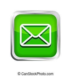 isolé, arrière-plan vert, courrier, blanc, icône