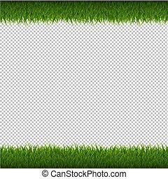 isolé, arrière-plan vert, herbe, frontière, transparent