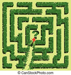 isolé, arrière-plan vert, labyrinthe, blanc, herbe