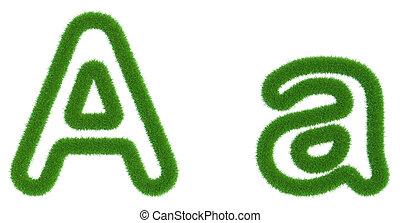 isolé, arrière-plan., vert, lettre, frais, blanc, herbe