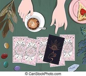 isolé, art, café, rigolote, vente, guide, fortune, tarot, mur, mystique, social, offre, aviateur, séance, instagram, attente, qute, boisson, cartes, media., poste, caissier, cartes, impression, baner, mystérieux, conception