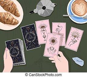 isolé, art, café, rigolote, vente, guide, fortune, tarot, ...