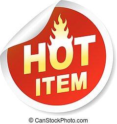 isolé, article, chaud, flamme, blanc, écusson