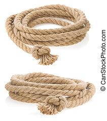 isolé, attaché, corde, noeud, bateau, blanc