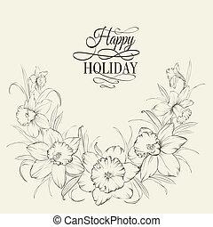 isolé, attaché, fond, narcisse, fleurs blanches