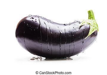 isolé, aubergine, blanc, gouttes, eau