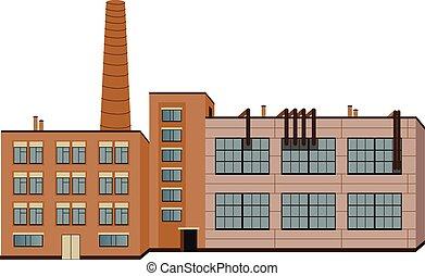 isolé, bâtiments, vecteur, industrie, usine