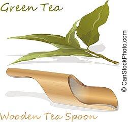 isolé, bambou, vert, cuillère, bois, arrière-plan., vecteur, thé, blanc, illustration.