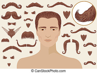 isolé, barbes, man., collection, conception, grand, moustaches