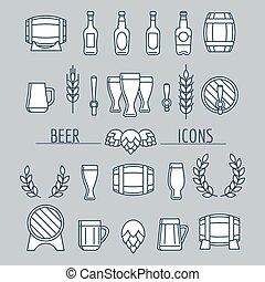 isolé, bière, ensemble, gris, icônes