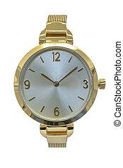 isolé, blanc, montre, poignet, fond