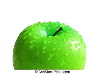 isolé, blanc, pomme, gouttes, eau