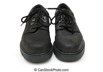 isolé, bottes, noir, paire, sécurité, blanc