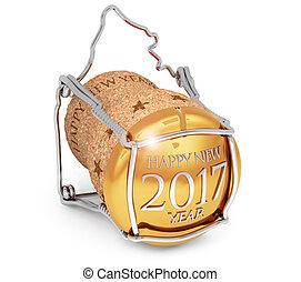 isolé, bouchon, nouveau, 2017, champagne, blanc, année