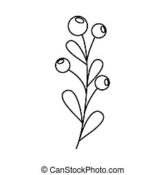 isolé, branche, graines, icône