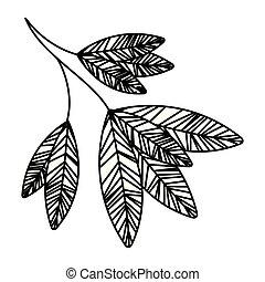 isolé, branche, pousse feuilles, icône