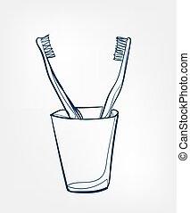 isolé, brosse dents, agrafe, ligne, vecteur, produits de beauté, art
