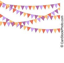 isolé, buntings, multicolore, clair, drapeaux, guirlandes, blanc