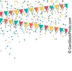 isolé, buntings, multicolore, guirlandes, clair, confetti, blanc
