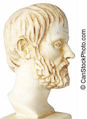isolé, buste, grec, philosophe, blanc, aristoteles, marbre