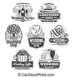 isolé, cérémonie, icônes, service, mariage, mariage