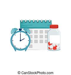 isolé, calendrier, vecteur, conception, vitamine, pot, horloge