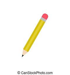 isolé, caoutchouc, crayon, icône, arrière-plan rouge, vecteur, jaune, blanc, aiguisé