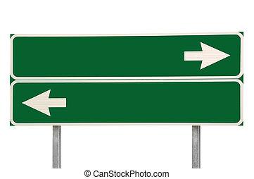 isolé, carrefour, vert, deux, signe flèche, route