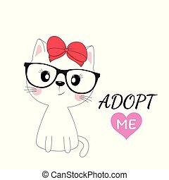 isolé, chat, arrière-plan., rouges, girl, agréable, blanc, arc