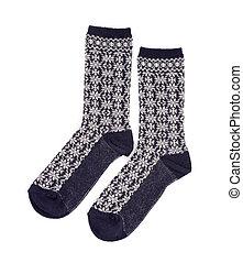 isolé, chaussettes, fond, paire, blanc, habillement