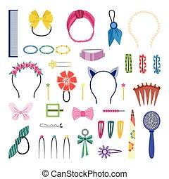 isolé, cheveux, coiffure, mignon, accessoires, décorations, ensemble, girly