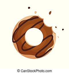 isolé, chocolat, beignet, vecteur, fond, blanc