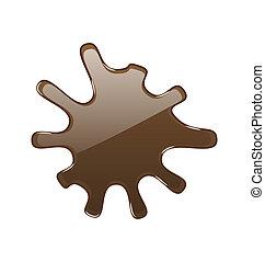 isolé, chocolat, chaud, fond, blanc, tache