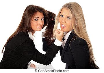 isolé, combat, 2, blanc, femmes affaires, collegues