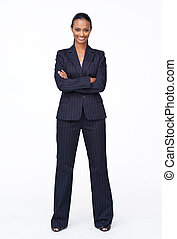 isolé, confiant, indien, femme affaires, sourire, à, les,...