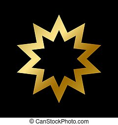 isolé, contour, symbole, foi, religieux, signe, bahai