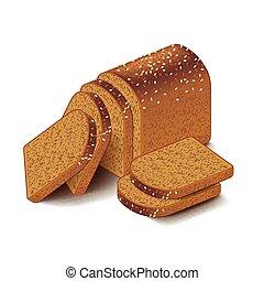 isolé, coupé, vecteur, grain, blanc, entier, pain