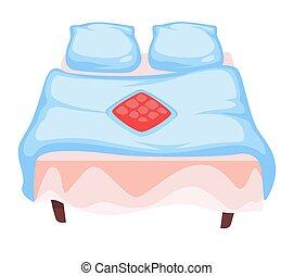isolé, couverture, literie, ou, lin, taies oreiller, icône, ...