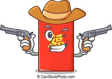 isolé, cow-boy, enveloppe, dessin animé, rouges