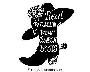 isolé, cow-boy, fête, illustration, cowgirl, vecteur, blanc, silhouette, botte, printable, text.