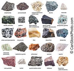 isolé, cru, divers, noms, blanc, minéraux