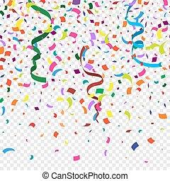 isolé, décoration, beaucoup, festival, fond, tomber, coloré, anniversaire, fête, carnival., automne, arrière-plan., transparent, résumé, vecteur, célébration, confetti, morceaux, nouveau, élément