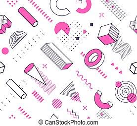 isolé, dessiné, main, style, arrière-plan., rose, géométrique, dessin, pattern., éléments, memphis, vecteur, icônes, blanc, noir, illustration., formes, contour, seamless, géométrie
