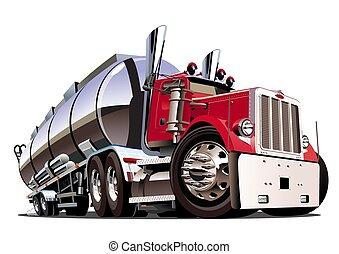isolé, dessin animé, fond, blanc, camion, pétrolier, semi
